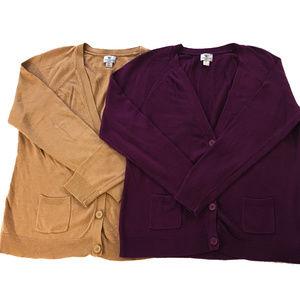 SET OF 2 Petite Large Tan and Purple Cardigans